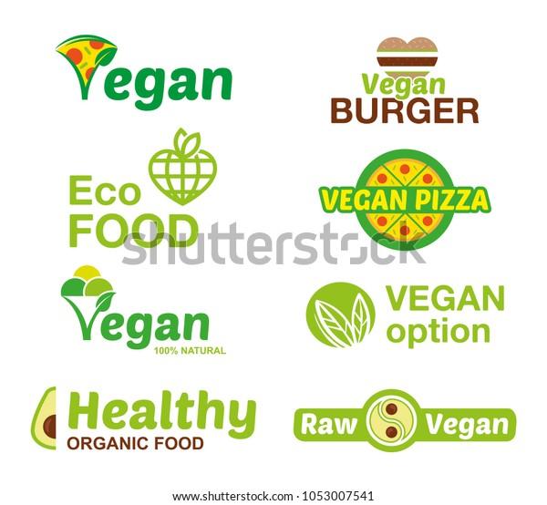 Vegan Burger Logo Collection:  Vegan Food Logo Icon Vector Set Stock Vector (Royalty Free