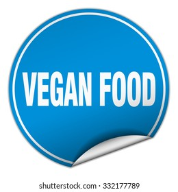 vegan food round blue sticker isolated on white