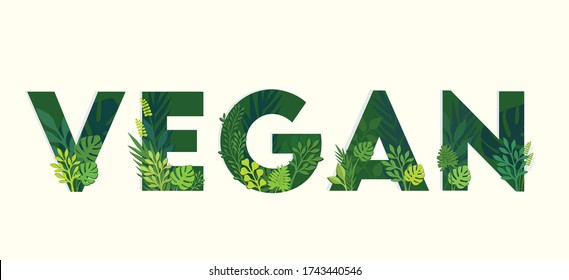 Vegan food typography with paper cut illustration of leaves and plants, can be used for advertising, posters, events, brochure, leaflet, website and photography purpose.