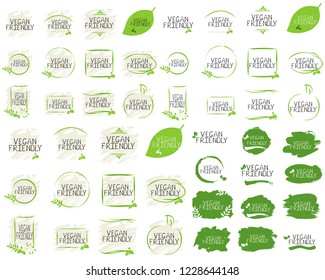 Vegan friendly collection label and high quality product badges. Bio Home made food Organic product Pure healthy Eco food organic, bio and natural product icon. Emblems for cafe, packaging etc. Vector