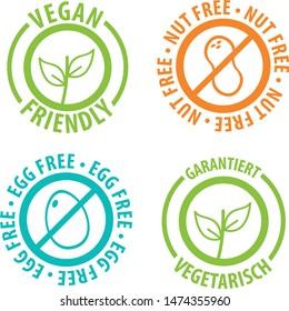 Vegan Friendly Icon Badge Design. Nut Free and Egg Free Bagdes.