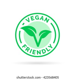 Vegan friendly icon badge design. Vector illustration.