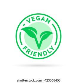 Vegan friendly icon badge design. Vector illustration.