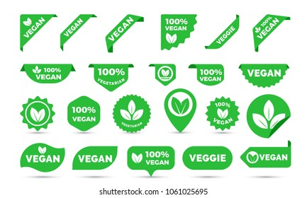 Vegan green logo stickers set for vegan product shop tags, vegetarian labels or banners and posters. Vector vegan sticker icons templates set