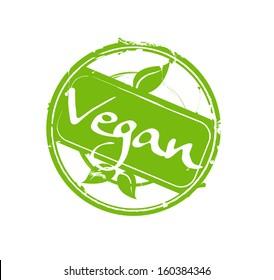"""Vegan"" green round rubber stamp vector"