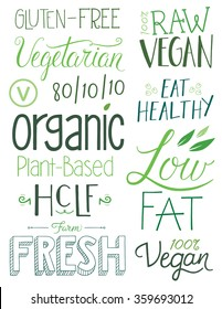 Vegan Hand drawn Text Elements