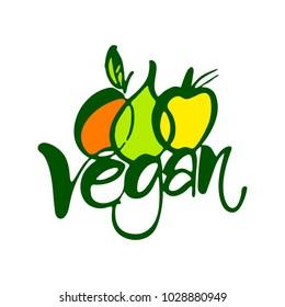 VEGAN. Handwritten lettering vector elements for labels, logos, badges, stickers or icons. Sign Illustration.