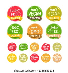 Vegan, healthy food illustrations set for cafe, restaurant badges, tags, packaging. Vector eco, organic, bio logos or stickers