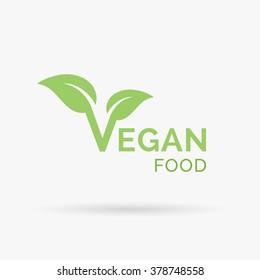 Vegan icon design. Vegetarian food diet sign with letter 'V' and leaf symbol. Vector illustration.