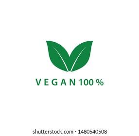 Vegan icon ,green leaf icon logo template