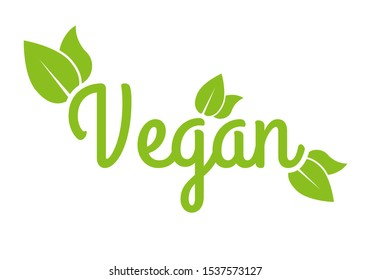 Vegan icon or logo. Healthy food and product label with green leaves. Vector illustration.