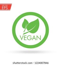 Vegan icon. Natural organic label. Vegetarian eco food sign. Healthy bio product emblem.