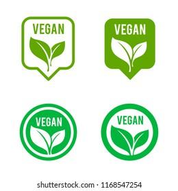 Vegan icon set. Bio, Ecology, Organic logos and icon, label, tag. Green leaf icon on white background.
