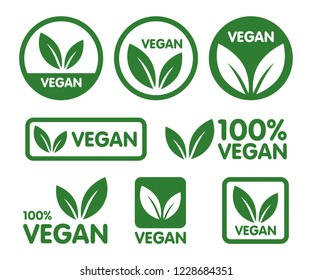 Vegan icon set. Bio, Ecology, Organic logos and badges, label, tag. Green leaf on white background. Vector illustration