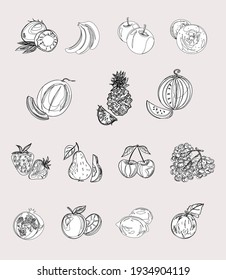 Vegan icon set with fruits and berries. Strawberries, cherries, plums, grapes, banana, watermelon, melon, peach, apple, pear, pineapple, pomegranate, coconut. Proper nutrition. Isolated vector objects