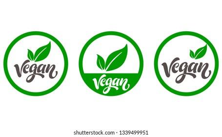 Vegan icon set. Logos and badges, label, tag. Green leaf on white background. Vector illustration