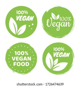 Vegan icon set logos and badges, label, tag. Green leaf on white background. Vector illustration.
