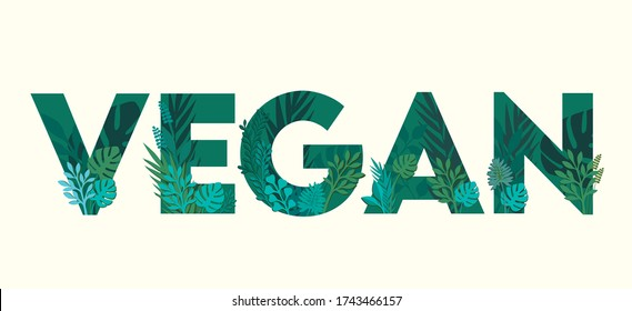 Vegan illustrated typography/ text with leaves and plants shape which can be used for posters, leaflets, websites, mobile application or hoardings.
