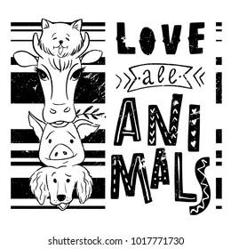 Vegan lettering concept. Save the planet. Do not eat animals. Vector illustration. Hand drawn lettering inscription. Love all animals