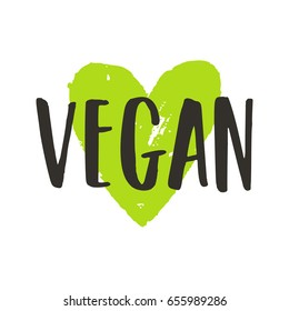 Vegan lettering and green ink heart. Vector hand drawn sign. Isolated on white