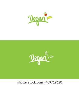 Vegan logo design green typography lettering fruits banana strawberry
