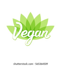 Vegan logo design. Vector illustration with abstract lotus flower and  lettering. Symbol  for menu, labels, logos, badges, pins, stickers.