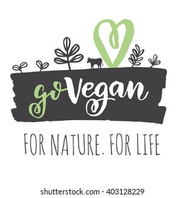 Vegan logo. Go Vegan logo concept. Fresh healthy organic vegan food vector hand drawn illustration. Vegetarian eco green concept
