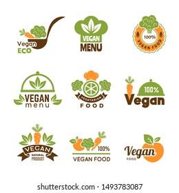 Vegan logo. Healthy food vegetarian ecology emblem natural lifestyle symbols vector collection