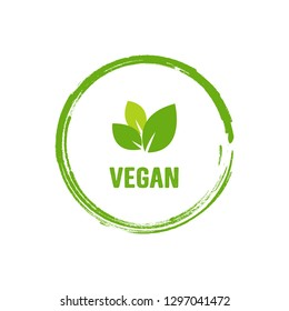 Vegan logo, organic bio logo or sign. Raw, healthy food badge, tag set for cafe, restaurants, products packaging. Vector vegan sticker icon