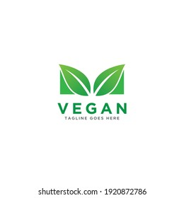 Vegan logo vector. Nature green illustration with leaves for logo, sticker, and label.