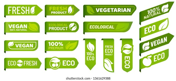 Vegan mark labels. Fresh vegetarian products, eco organic food and recommended healthy product sticker badges. Vegetarian lifestyle emblem, health diet tag. Vector isolated icons set