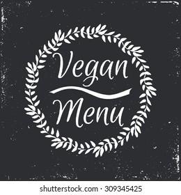 Vegan menu hand-sketched herbal vector frame (template). Useful for ads, signboards, packaging, menu design, interior decorating and other design.
