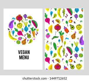 Vegan menu template set with logo and pattern. Vector graphic illustration