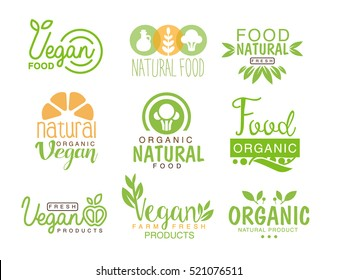 Vegan Natural Food Set Of Template Cafe Logo Signs In Green, Orange Colors Promoting Healthy Lifestyle And Eco Products