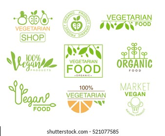 Vegan Natural Food Set Of Template Shop Logo Signs In Green And Orange Colors Promoting Healthy Lifestyle And Eco Products