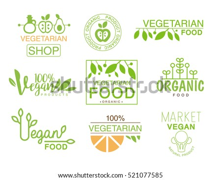 vegan natural food set template shop stock vector royalty free