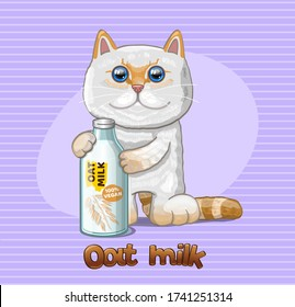 Vegan Oat milk and cat. Vector Illustration.