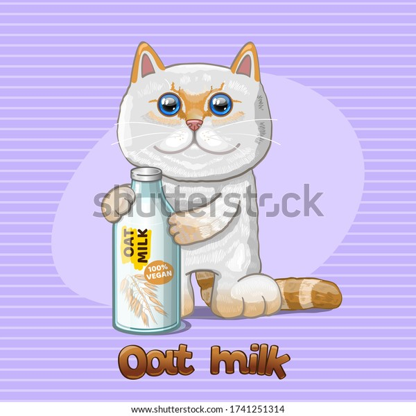Vegan Oat milk and cat. Vector Illustration.