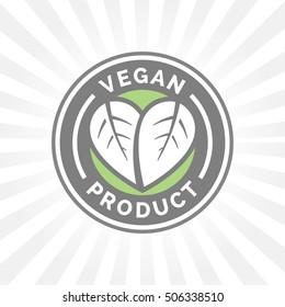Vegan product icon design. Vegan food sign. Green, grey and white vegan friendly leaf badge. Vector illustration.
