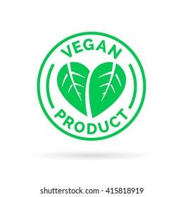 Vegan product icon design symbol. Green leaves in heart shape sign. Vector illustration.