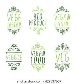 Vegan product labels. Suitable for ads, signboards, packaging and identity and web designs. Vegan food. Bio product. Vegan cuisine. Veggie. Veg. Vegetarian