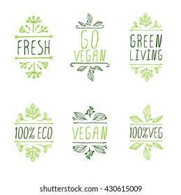 Vegan product labels. Suitable for ads, signboards, packaging and identity and web designs. Vegan. Go vegan. Green living. Fresh