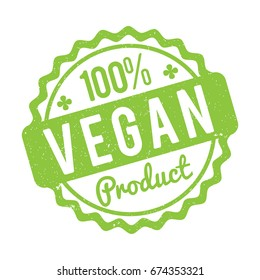 Vegan Product rubber stamp green on a white background.