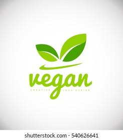 Vegan product vector logo icon sign design template