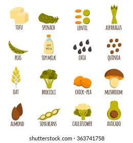 Vegan protein icons