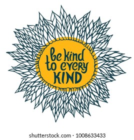 Vegan quote about kind for t shirt. Be kind to every kind. Vector concept lettering for print on t shirt, mug, cover. Be vegan