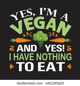 Vegan quote and saying. Yes I am a vegan and yes I have nothing to eat
