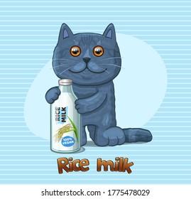 Vegan Rice milk and cat. Vector Illustration.