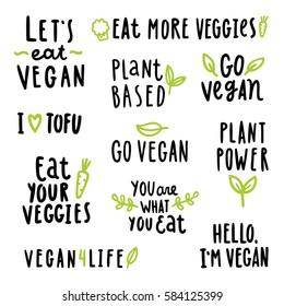 Vegan set. Vector hand written signs