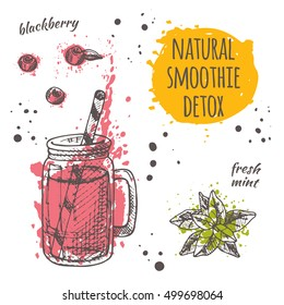 Vegan smoothie natural card with blueberry and mint. Detox cocktail. Healthy life. Hand drawn vector illustration on the watercolor splash. Can be used for menu, cafe, restaurant, bar.